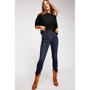 FREE PEOPLE curvy lace up skinny jean 33